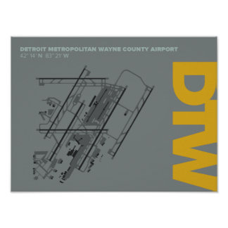 Detroit Airport (DTW) Airport Diagram Poster