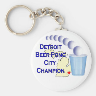 Detroit Beer Pong Champion Keychain