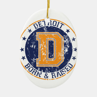 Detroit Born and Raised Christmas Ornament