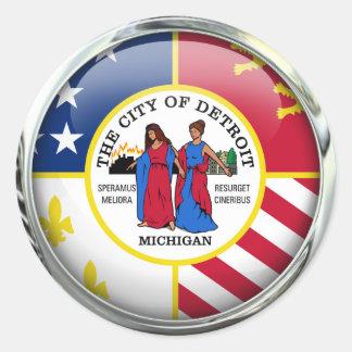 Detroit Flag Glass Ball Classic Round Sticker