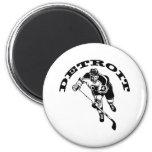 Detroit Hockey Player 6 Cm Round Magnet