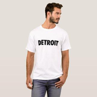Detroit in black text on light t-shirt