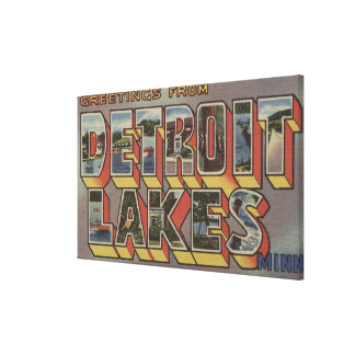 Detroit Lakes, Minnesota - Large Letter Scenes Canvas Print
