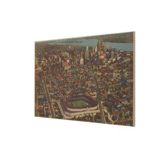 Detroit, MI - Aerial Briggs Baseball Stadium Canvas Print