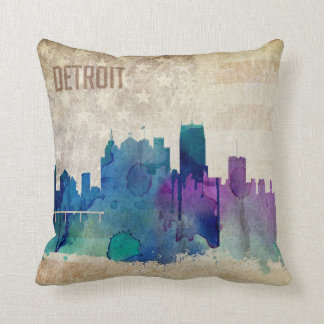 Detroit, MI | Watercolor City Skyline Cushion