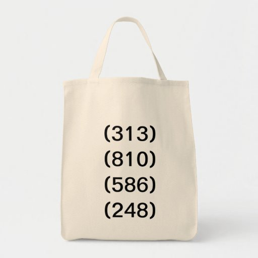 Detroit Michigan Area Code Transition Canvas Bags