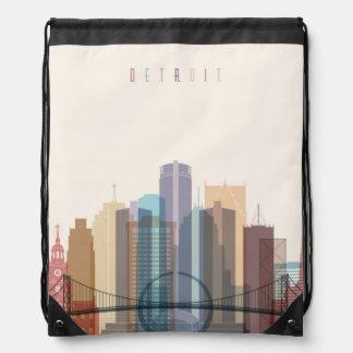 Detroit, Michigan | City Skyline Drawstring Bag