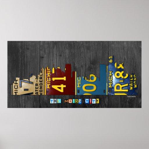 Detroit Michigan City Skyline License Plate Art Poster