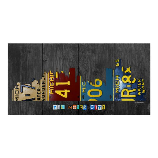 Detroit Michigan City Skyline License Plate Art Poster