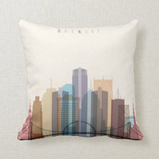 Detroit, Michigan | City Skyline Throw Pillow