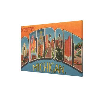 Detroit, Michigan - Large Letter Scenes 2 Canvas Print