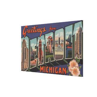 Detroit, Michigan - Large Letter Scenes Canvas Print