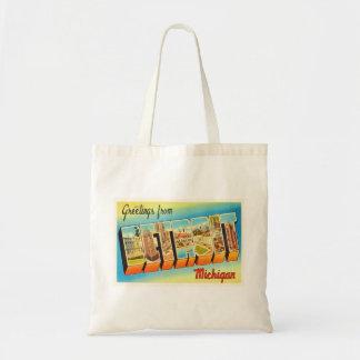 Detroit Michigan MI Old Vintage Travel Souvenir Budget Tote Bag