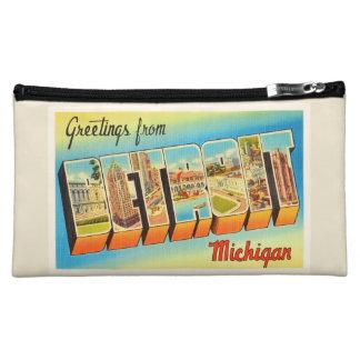 Detroit Michigan MI Old Vintage Travel Souvenir Cosmetics Bags