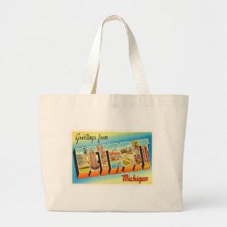 Detroit Michigan MI Old Vintage Travel Souvenir Jumbo Tote Bag