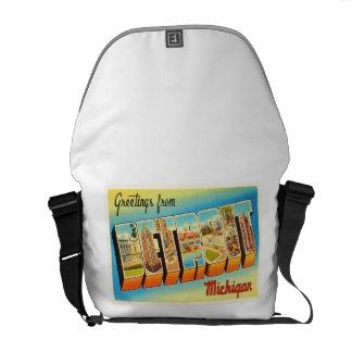 Detroit Michigan MI Old Vintage Travel Souvenir Messenger Bags