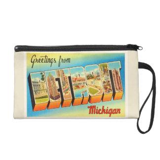 Detroit Michigan MI Old Vintage Travel Souvenir Wristlet Clutches
