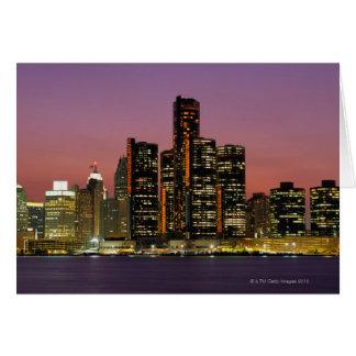 Detroit, Michigan Skyline at Night Card