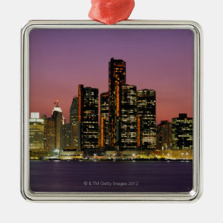 Detroit, Michigan Skyline at Night Christmas Ornament