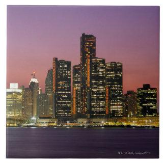 Detroit, Michigan Skyline at Night Tile