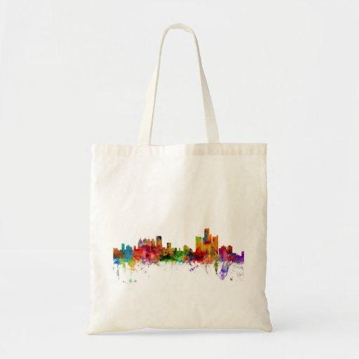 Detroit Michigan Skyline Canvas Bag