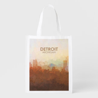 Detroit, Michigan Skyline IN CLOUDS Reusable Grocery Bag