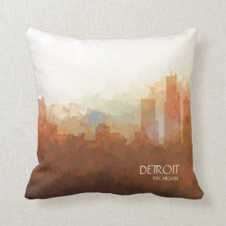 Detroit Michigan Skyline-In the Clouds Cushion