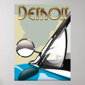 Detroit Michigan Vintage automobile travel poster