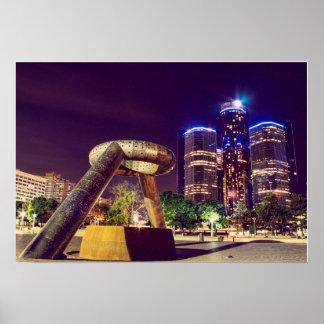 Detroit Night Skyline Poster