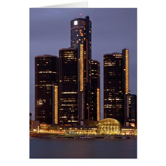Detroit Renaissance Centre At Dusk Card