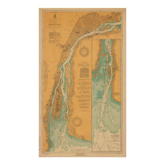 Detroit River Chart Map Poster