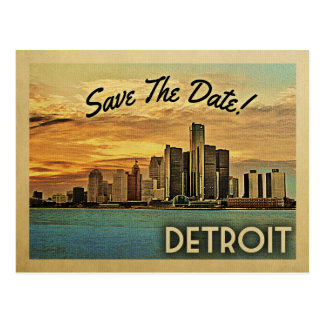 Detroit Save The Date Michigan Postcard
