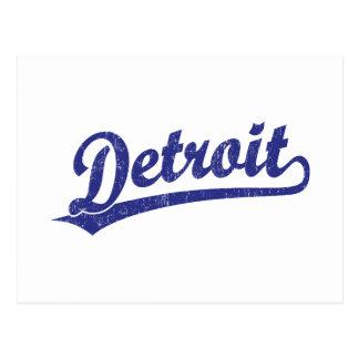 Detroit script logo in blue postcard