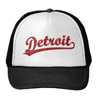 Detroit script logo in red mesh hats