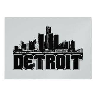 Detroit Skyline 13 Cm X 18 Cm Invitation Card