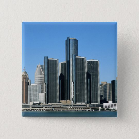 Detroit Skyline 4 15 Cm Square Badge