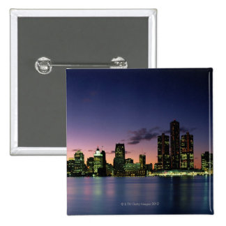 Detroit Skyline at Dusk 2 15 Cm Square Badge