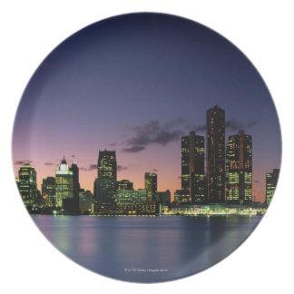 Detroit Skyline at Dusk 2 Plate