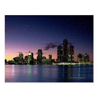 Detroit Skyline at Dusk 2 Postcard