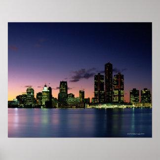 Detroit Skyline at Dusk 2 Poster