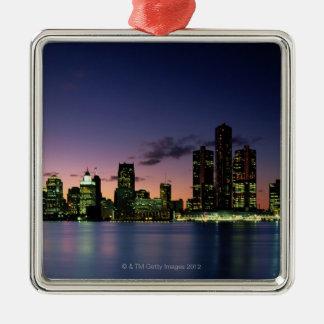 Detroit Skyline at Dusk 2 Silver-Colored Square Decoration