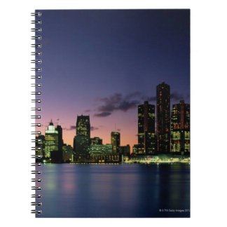 Detroit Skyline at Dusk 2 Spiral Notebook