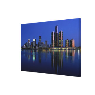 Detroit Skyline at Night Canvas Print