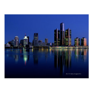 Detroit Skyline at Night Postcard