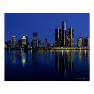 Detroit Skyline at Night Poster