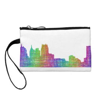 Detroit skyline change purse