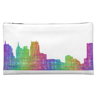 Detroit skyline cosmetic bag