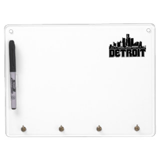 Detroit Skyline Dry Erase Board With Key Ring Holder