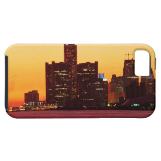 Detroit skyline in colorful sunset iPhone 5 case
