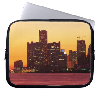 Detroit skyline in colorful sunset laptop sleeve